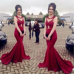 Red Mermaid Evening Stretch Satin/Pageant/Formal/Prom Dresses 2017