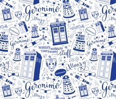 Doctor Who Smalescale Blue fabric by cherilyncolbert on Spoonflower - custom fabric