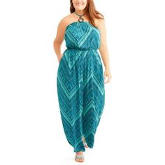 Faded Glory Womens Plus Halter Popover Wide Leg Jumpsuit, Multicolor