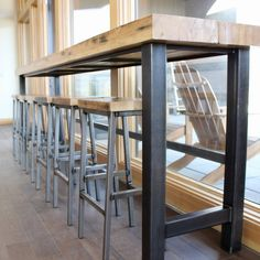 Repurposed Beam Bar + Bar Stools