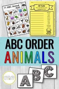 "Alphabetical Order Practice - Learn about your favorite animals while practice alphabetical order to the first or second letter. There are 40 printable worksheets, plus an animal alphabet chart and ""wild"" flashcards! I like to add the worksheets and visuals to a literacy center or have ready for early finishers. #alphabeticalorder #abcorder"