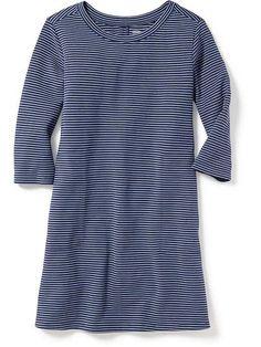 Ponte-Knit Metallic-Stripe Swing Dress for Girls
