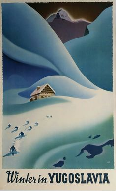 Original vintage poster ski Winter in Yugoslavia - Janez Trpin
