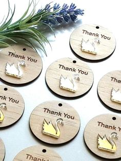 Thank You Tags Gold Mirror and Wood Swan Layered birthday favour wedding baptism christening baby shower bonbonniere business gift by CathsCottage on Etsy https://www.etsy.com/au/listing/482288332/thank-you-tags-gold-mirror-and-wood-swan