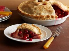 Sugar-Cranberry Pie : Cranberries and pears star in Alex Guarnaschelli's sweet pie that's as much a centerpiece as it is a dessert.