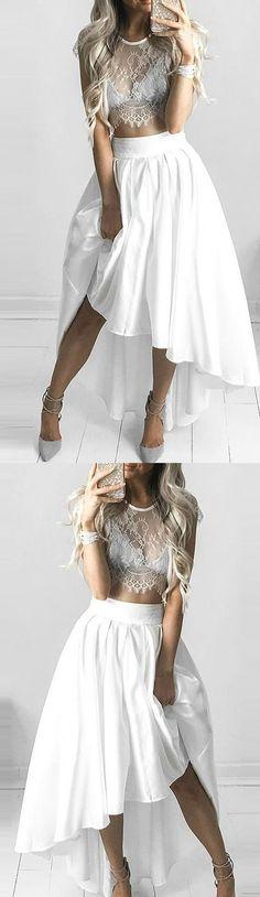 White Prom Dresses 2017, Prom Dresses 2017, Short Prom Dresses, White Prom Dresses, 2017 Prom Dresses, Homecoming Dresses 2017, Prom Dresses Short, Prom Short Dresses, Sleeves Prom Dresses, White Sleeves Prom Dresses, Short Homecoming Dresses, 2017 Homecoming Dress Scoop Asymmetrica Short Prom Dress Party Dress