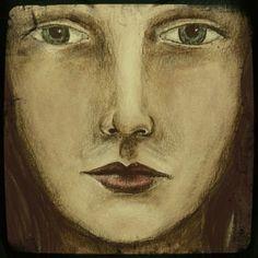 Mixed media portrait painting.