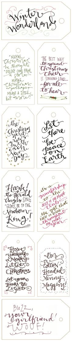 Free Printable Calligraphy Holiday Gift Tags (I can't wait for Christmas time! Christmas Time Is Here, Noel Christmas, Merry Little Christmas, Christmas Wrapping, Winter Christmas, Christmas Crafts, Christmas Ideas, Homemade Christmas, Winter Holidays