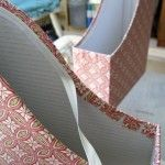 How to cover Ikea cardboard magazine files with fabric.