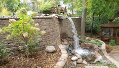 waterfall, plants behind wall, Terrace/Sloping Yard Sloped Yard, Sloped Backyard, Backyard Water Feature, Ponds Backyard, Koi Ponds, Backyard Playground, Landscaping On A Hill, Landscaping With Rocks, Landscaping Ideas