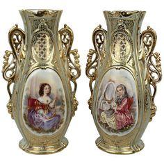 Pair Large Antique 19C Old Paris Porcelain Vases w Young Lady - Maiden Beauty PC #LouisXVI #OldParis