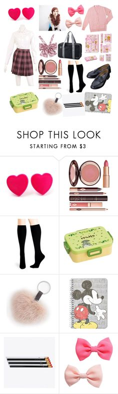 """""""likaco japanese schoolgirl uniform"""" by sailorangel ❤ liked on Polyvore featuring Charlotte Tilbury, Hue, Ghibli, Topshop, i am a and H&M"""