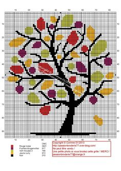 Bel arbre ! Cross Stitch Tree, Cross Stitch Flowers, Cross Stitch Charts, Cross Stitching, Cross Stitch Embroidery, Embroidery Patterns, Modern Cross Stitch Patterns, Cross Stitch Designs, Tapestry Crochet