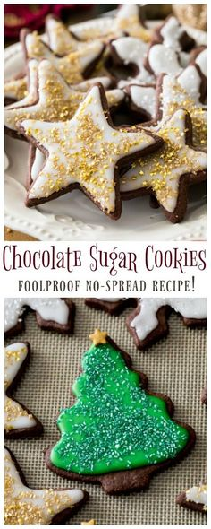A simple recipe for chocolate sugar cookies and the best, easy (non-royal icing) frosting! Recipe includes a how-to video! Köstliche Desserts, Holiday Desserts, Holiday Baking, Christmas Baking, Delicious Desserts, Christmas Biscuits, Chocolate Sugar Cookie Recipe, Sugar Cookies Recipe, Simple Sugar Cookie Recipe