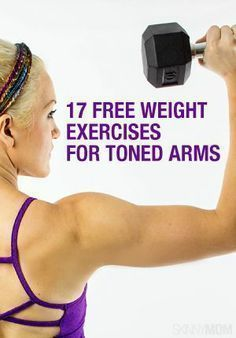 17 Free Weight Exercises for Toned Arms. Biceps, triceps and shoulders. All you need to turn those arms into sculpted works of art is a pair of free weights. 17 great exercises that can help your arms look and stay strong. Yoga Fitness, Fitness Diet, Health Fitness, Workout Fitness, Easy Fitness, Fitness Status, Usa Health, Fun Workouts, At Home Workouts