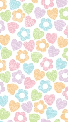 Phone Wallpaper. 'hearts and flowers pastel'