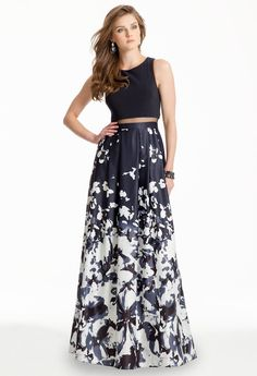 TWO-PIECE ILLUSION DRESS WITH ABSTRACT PRINT #black #dress #twopiece #longdress #blackdress #camillelavie #illusion #floral #print