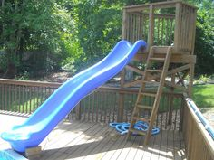 The pool slide is a biggie. Although, I must admit, not my idea. When Mrs Dad U was organizing our pool installation, she took advantage of. Above Ground Pool Slide, Above Ground Pool Landscaping, Above Ground Swimming Pools, In Ground Pools, Patio Plan, Pool Deck Plans, Swimming Pool Slides, Piscine Diy, Pool Diy