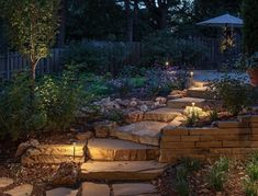 When designing your backyard, don't forget to carefully plan your lighting as well. Get great ideas for your backyard oasis here with our landscape lighting design ideas. Pathway Lighting, Outdoor Lighting, Exterior Lighting, Lighting Ideas, Path Lights, Driveway Lighting, Stair Lighting, Unique Lighting, Outdoor Steps