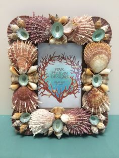 Beach Decor Sea Shell Frame with Spiney Oysters and Turquoise Limpet Shells by PinkPelicanDesigns on Etsy