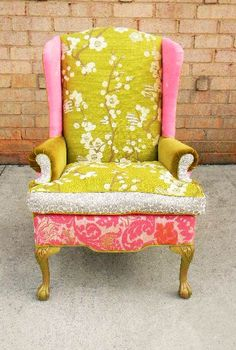 new upholstery can change a chair Patchwork Chair, Painted Chairs, Take A Seat, Awesome Bedrooms, Cool Chairs, Furniture Inspiration, Upholstered Chairs, Decoration, Slipcovers
