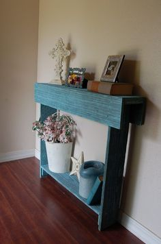 console table, blue ocean color. Etsy -- True Connection