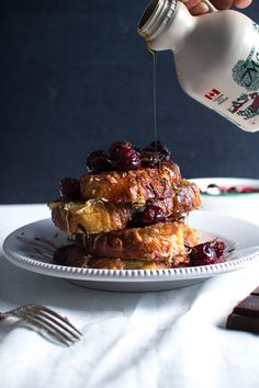 Yum, We Love . . .crispy coconut french toast with sour cherries and dark chocolate