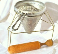 Vintage Aluminum Viko Canning Sieve with Wooden by LootByLouise, $34.95