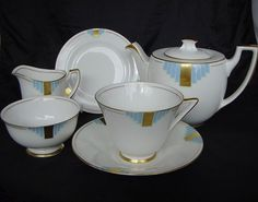 ART DECO 'Duval' TEA For One SET by Royal Doulton. So very delicate - love the gold and blue.