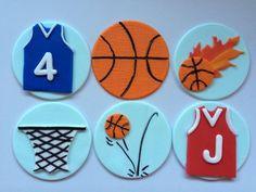 12 Basketball cupcake toppers Theme edible fondant ball net bouncing jersey shirt monogram ball on fire hoops by InscribingLives (24.99 USD) http://ift.tt/1QwSNCf