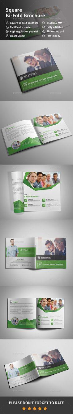Square Bi Fold Brochure- Multipurpose Brochure Folds, Corporate Brochure, Business Brochure, Brochure Design, Brochure Template, Flyer Design Templates, Graphic Design, Brochures, Elegant