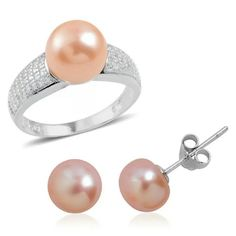 FRESHWATER PEARL-925-STERLING SILVER SET PURE 925-STERLING SILVER RING AND EARRINGS W/GENUINE FRESHWATER PEACH PEARLS TCW-0.58 Jewelry Rings