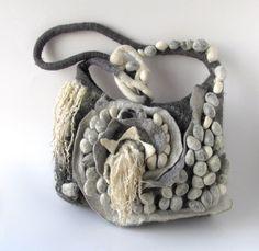 Felted handbag - grey, via Flickr. #felted #scarf #felting #shibori #felt #handbag #ruffle #collar
