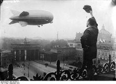 Berlin - A zeppelin above the Brandenburger Tor and Pariser Platz 1930s