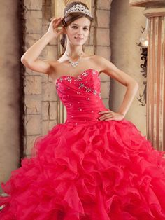 Popular Sexy Coral Red Quinceanera Dress Sweetheart Ruffles Organza Ball Gown - US$254.49 The top of my quince dress!!