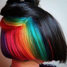 Underlights hair, coloration cachée arc en ciel