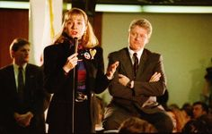 Hillary and Bill Clinton visit Maine South High School on March 12, 1992.