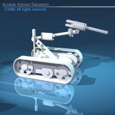 Robot bomb 3D Model-   Robot for bomb disengagement. It is equipped with a high pressure gun water to surgical cut or pierce suspect packages and suspect suitcase. - #3D_model #Weapons Collections