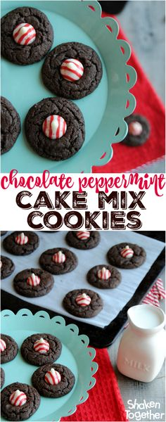 With just a handful of ingredients and big holiday flavor, these easy Chocolate Peppermint Cake Mix Cookies are perfect for a snow day with the kiddos or a place on your holiday cookie platter! #BakeMagicMoments #Target @reynoldswrap {ad}