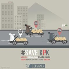 SAVE KPK! indonesian koruptor attack flat design