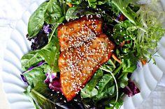 Orange Glazed Salmon with salad