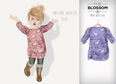 .The Blossom. Unicorn blue sweater for Toddleedoo BABY size only!