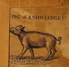 """""""Pig of Knowledge""""!!!! - Frontispiece from a wonderful book amounting to something akin to an early 19th-century version of the Masked Magic..."""