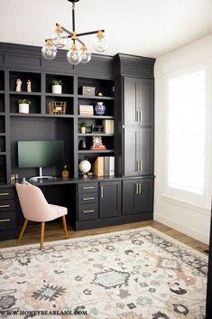 My Gorgeous DIY Office Built ins Reveal - Honeybear Lane, Office Nook, Home Office Space, Home Office Design, Home Office Decor, Home Decor, Office Designs, Best Office Desk, Office Room Ideas, Office Cabinet Design