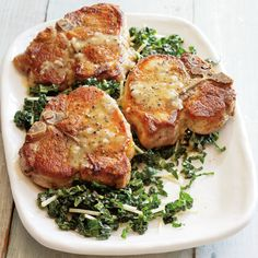 Sautéed Pork Chops with Kale Salad. | A honey-mustard vinaigrette lends bright flavors to both the meat and the salad. Unlike lettuce salads, which need to be served as soon as they are made, kale benefits from being prepared ahead.