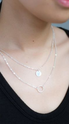 Double Pendant Necklace in Silver – pasteldress