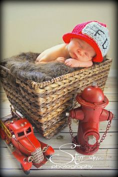 Infant Crocheted Fireman's Hat by makingmeloopy on Etsy