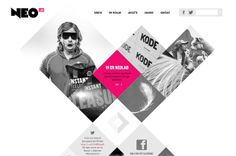 Diamond shaped Web Design with B&W and pink colour