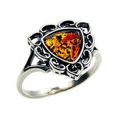 Vintage Style Sterling Silver Natural Baltic Amber Ring, Size 6.75