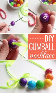 How to make candy necklaces :: Gumball necklaces on Thoughtfully Simple (great St. Patrick's Day gifts or crafts!)
